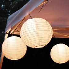 10ct lumabase white electric string light with 10 paper lanterns
