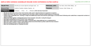Electronic Assembler Resume Sample by Wire Harness Assembler Resume Sample
