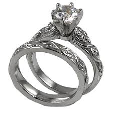 Antique Wedding Rings by Platinum Lotus Crest Antique Wedding Set Cubic Zirconia Rings
