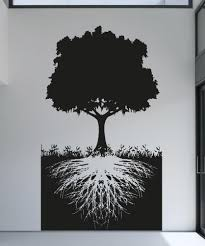 vinyl wall decal sticker tree with roots 5128