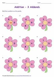 add the numbers on the petals we have worksheets for 3 4 and 5