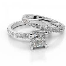 engagement rings and wedding band sets diamond bridal set princess premier 1 1 2 carat 1 50ct