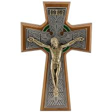 walnut celtic cross with gold corpus 8 inch the catholic company