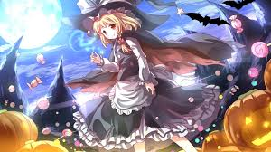 anime halloween wallpaper flying candies and big pumpkins