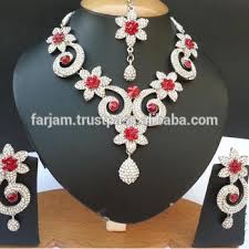 silver jewellery necklace sets images Indian designer wholesale silver jewellery jewelry red color jpg