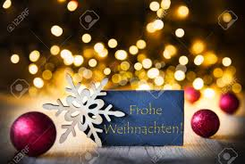 background lights frohe weihnachten means merry stock