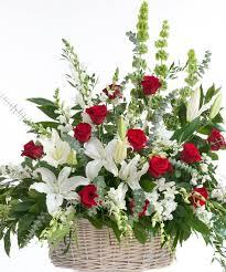 classic red and white floor basket stadium flowers