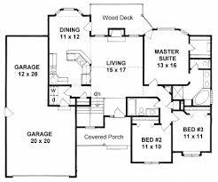 plan 1420 3 bedroom ranch w bay windows and tandem 3 car garage