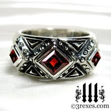 gothic rings silver images 3 kings wedding ring garnet stone mens medieval silver band size jpg