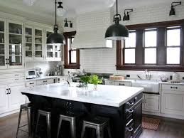 Modern White Kitchen Cabinets Round by Two Tone Kitchen Cabinets Brown And White Metal Bar Stools Cream