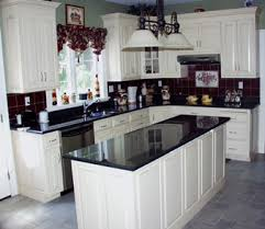 imagine with white granite on wall cabinets dark on island and