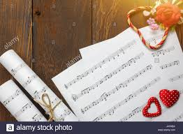 Musical Note Decorations Top View Valentines Day Love Song Music Background And Stock Photo