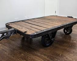 Industrial Cart Coffee Table Factory Cart Etsy