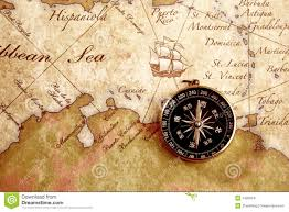 World Treasure Map by Old Brass Compass On A Treasure Map Stock Image Image 14950241