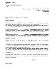bureau de tarification exemple gratuit de lettre réclamation refus assurance automobile