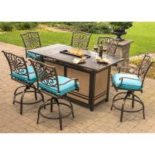 Patio Furniture Bar Sets - traditions 7 piece high dining bar set in blue with 30 000 btu