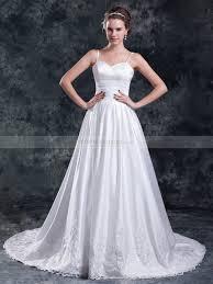 hem wedding dress spaghetti straps satin a line wedding dress with lace hem and