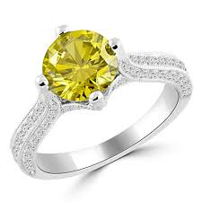 fancy yellow diamond engagement rings 2 11ct vs1 canary yellow diamond engagement ring 18k white gold