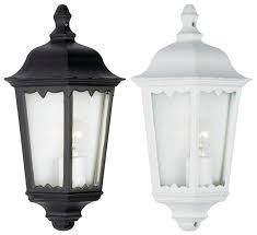 2 x outdoor exterior 3 sided half wall lantern black or white