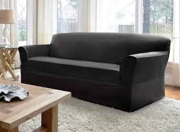 Modern Sofa Slipcovers by Snug And Fit Sofa Slipcovers Ideas In Slick Leather Black Modern
