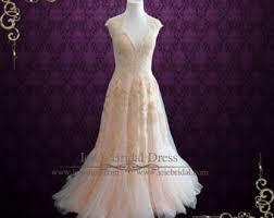 pink lace wedding dress pink wedding dress etsy