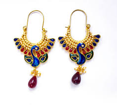 peacock earrings handcrafted meenakari peacock earrings pj119 sajaa online