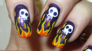 badass flame design with cute skulls shimmery dark purple
