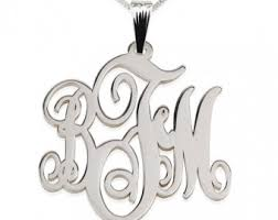 sterling silver monogram necklace pendant monogram pendants etsy