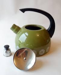 kitchen ware kitchenalia green enamel stove top whistling kettle