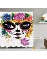Sugar Skull Bathroom Find The Best Deals On Sugar Skull Decor Shower Curtain With