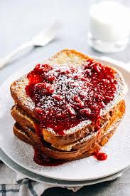 eggnog french toast with raspberry sauce recipe pinch of yum