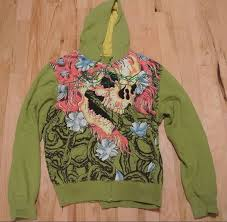 men u0027s ed hardy hoodie size xxl 2x green yellow large flaming