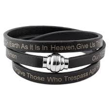 leather stainless steel bracelet images Lord 39 s prayer stainless steel leather wrap bracelet 6mm 7in jpg