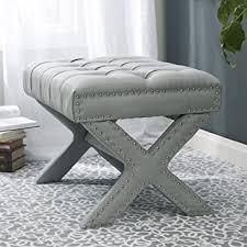 amazon com inspired home louis linen button tufted silver