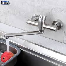 wall mount stainless steel sink aliexpress com buy wall mounted lengthen kitchen sink mixer long