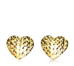 9ct gold stud earrings 9ct gold diamond cut heart stud earrings qvc uk
