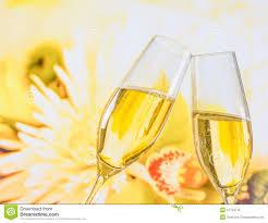 Wedding Flowers Background Champagne Flutes With Golden Bubbles On Wedding Flowers Background