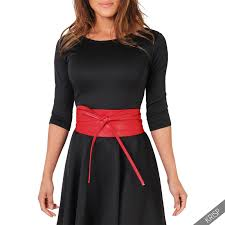 wide tie women soft faux leather wide self tie wrap around obi waist band