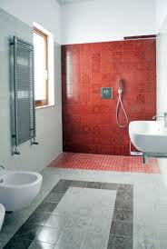Modern Bathroom Modern Bathroom Red Tiles From Walls To Floors Pictures And Beige