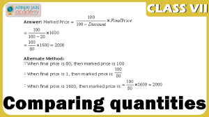 comparing quantities maths class vii cbse isce ncert youtube