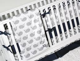 Navy Blue And Gray Bedding Nautical Boy Crib Bedding Whale Nursery Set Baby Bedding