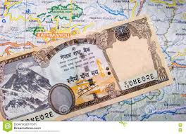 Map Note Nepali Currency Note On Map Stock Photo Image 74565938