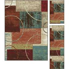 3 piece set red brown u0026 teal area rug deco rc willey
