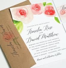 new amelia watercolor rose floral wedding invitation sample