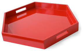 lacquer hexagon tray red