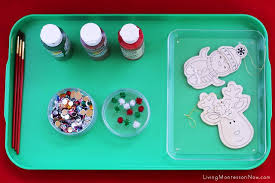 montessori inspired crafts painted wooden ornaments