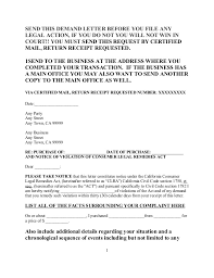 free sample demand letter under consumer legal remedies act for calif u2026
