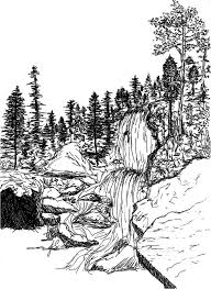 rocky mountains waterfall sketch 8x10