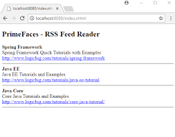 tutorial java primefaces primefaces using feedreader to display rss feed