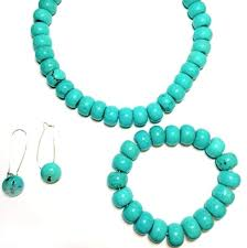 turquoise necklace earring set images Bead chunky turquoise necklace with bracelet and earrings png